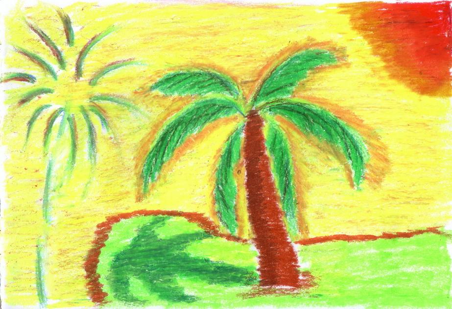 Palm Oil Tree Drawing Palm Tree Oil Pastels Jpg